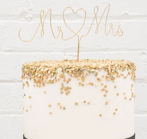 Mr. & Mrs. Twisted Wire Cake Topper - Gold $12.98