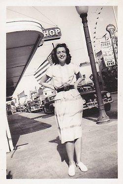 40s photo girl on the street skirt blouse