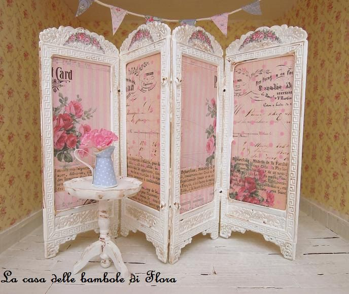 French Shabby chic room divider screen 112 dolls house dollhouse