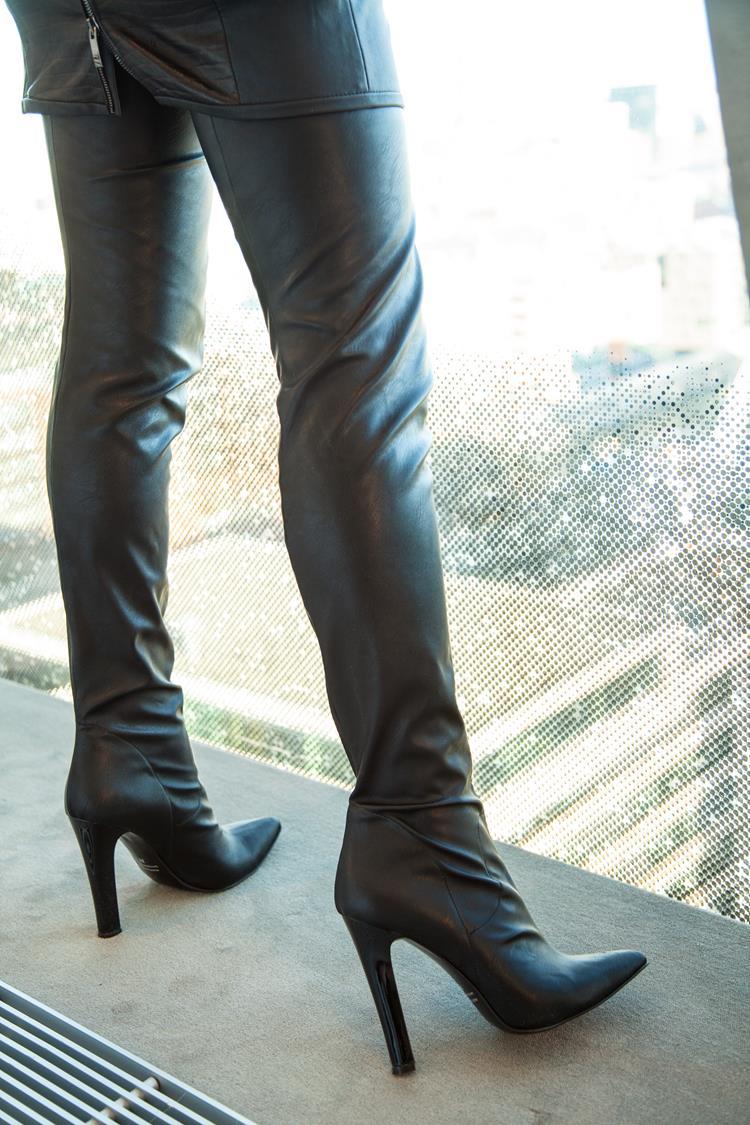 Schwarzer High Heel Overknee Stiefel von Miceli | Fashion