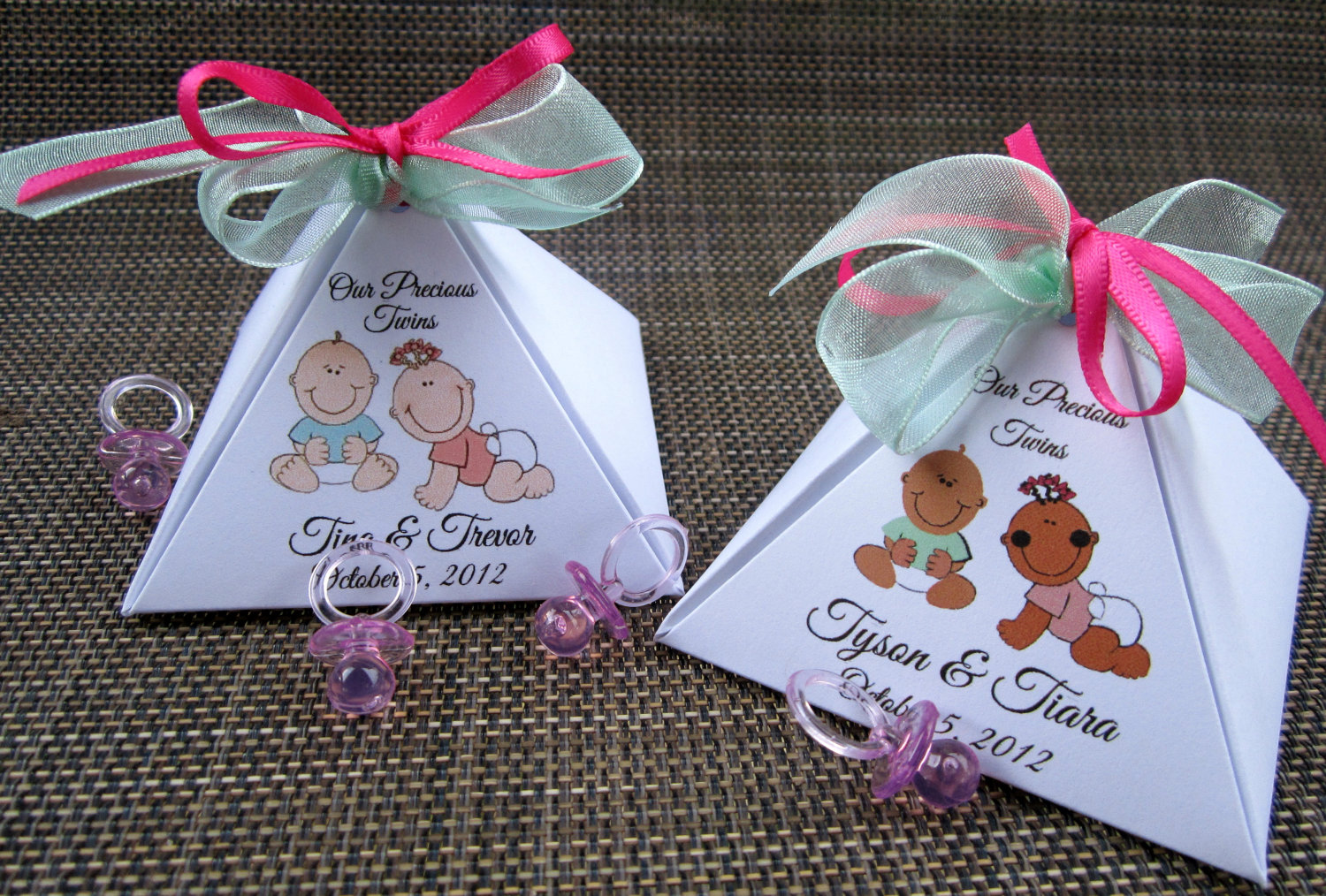 Twins Personalized Pyramid Baby Shower Favor Box By Kiddiekove