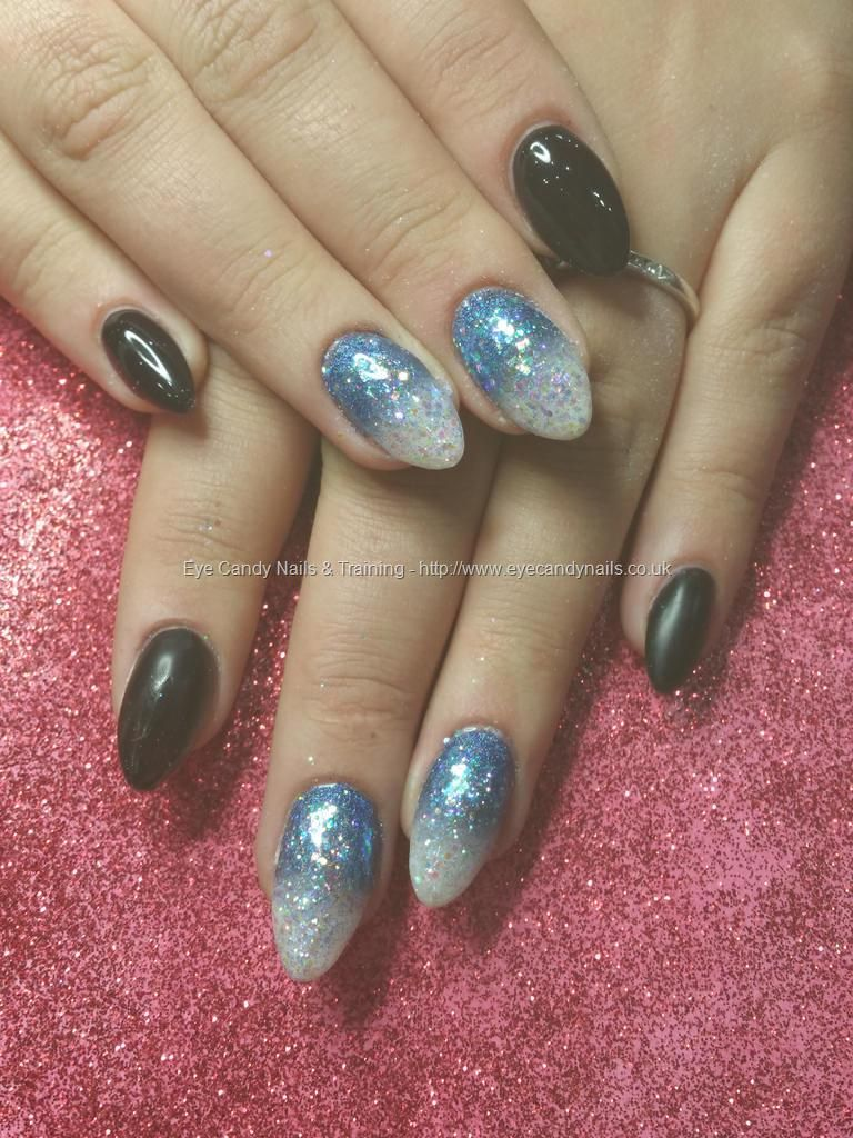 Black gel polish with blue and white glitter fade | Nails ...