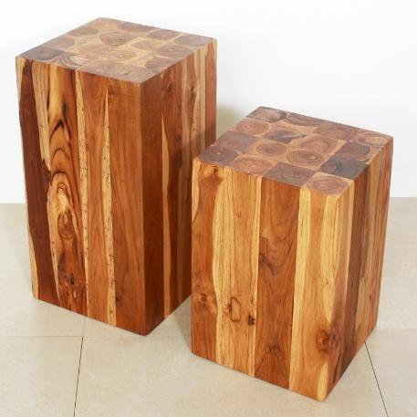Teak Wood Block Muebles Rusticos Madera Bancos De Madera
