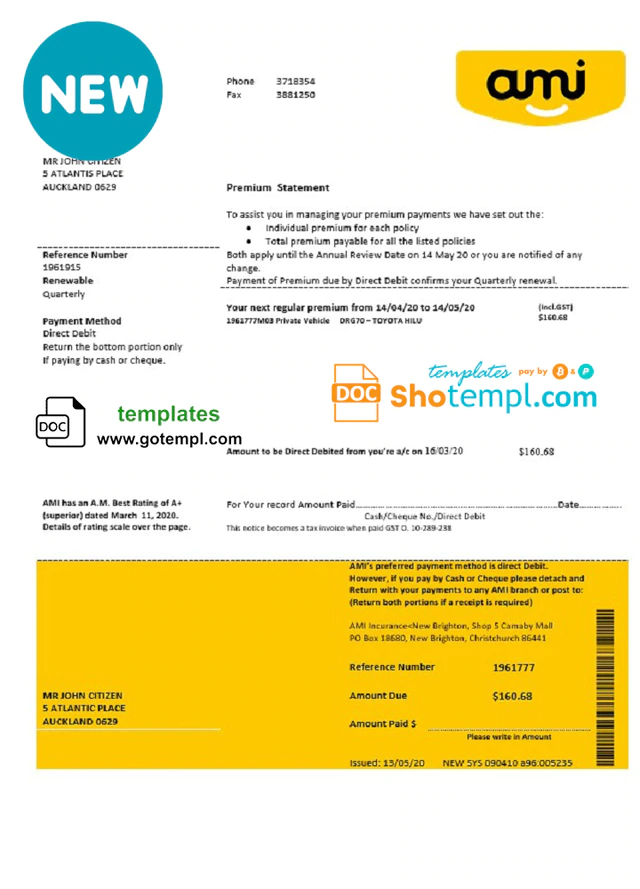 New Zealand Ami Insurance Limited Bank Statement Template In Word And Pdf Format Statement Template Bank Statement Statement