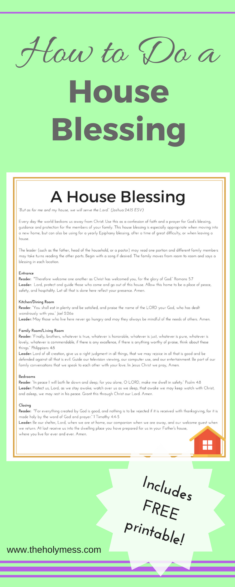 How To Do A House Blessing New Home Family Prayer Free Printable Baby