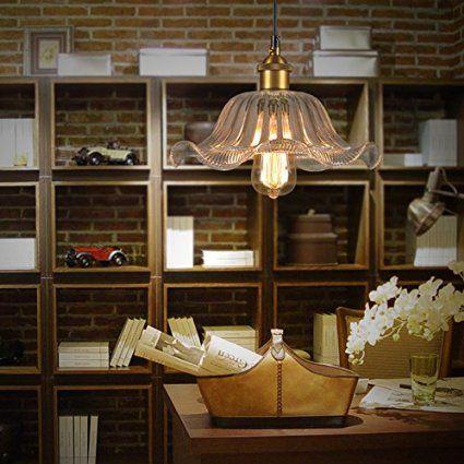 WinSoon 20cm x 30cm MODERN VINTAGE INDUSTRIAL HANGING GLASS CEILING LAMP Flower SHADE PENDANT LIGHT
