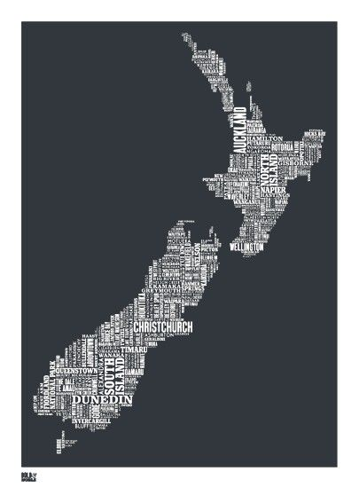new zealand type map screen print new zealand word map new zealand