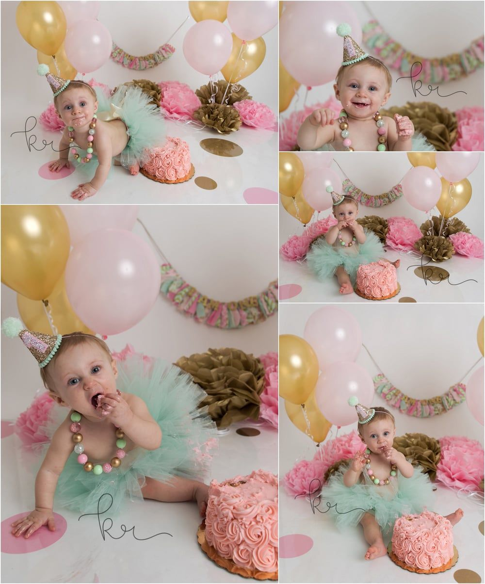 Mint Pink Gold First Birthday Girl Tutu Outfit 1st Birthday Photo Shoot Cake Smash