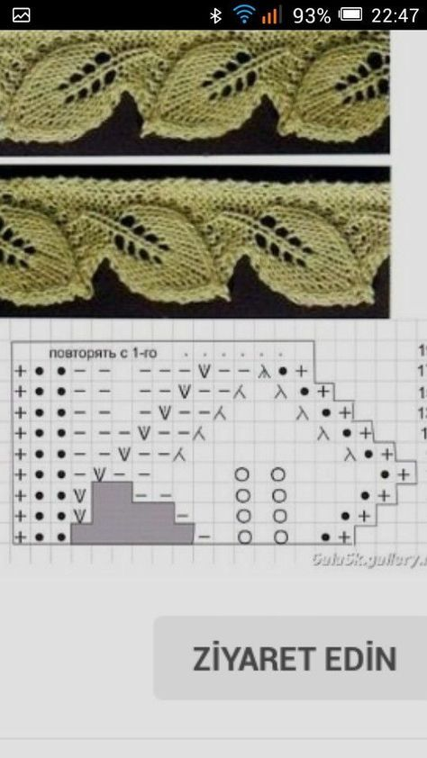 Knit edging of leaves - Tricot Pontos in 2020 | Knit ...