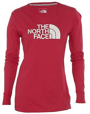 North Face Half Dome Long Sleeve Tee Womens CG9R-F0G Rose Red T-Shirt Size M