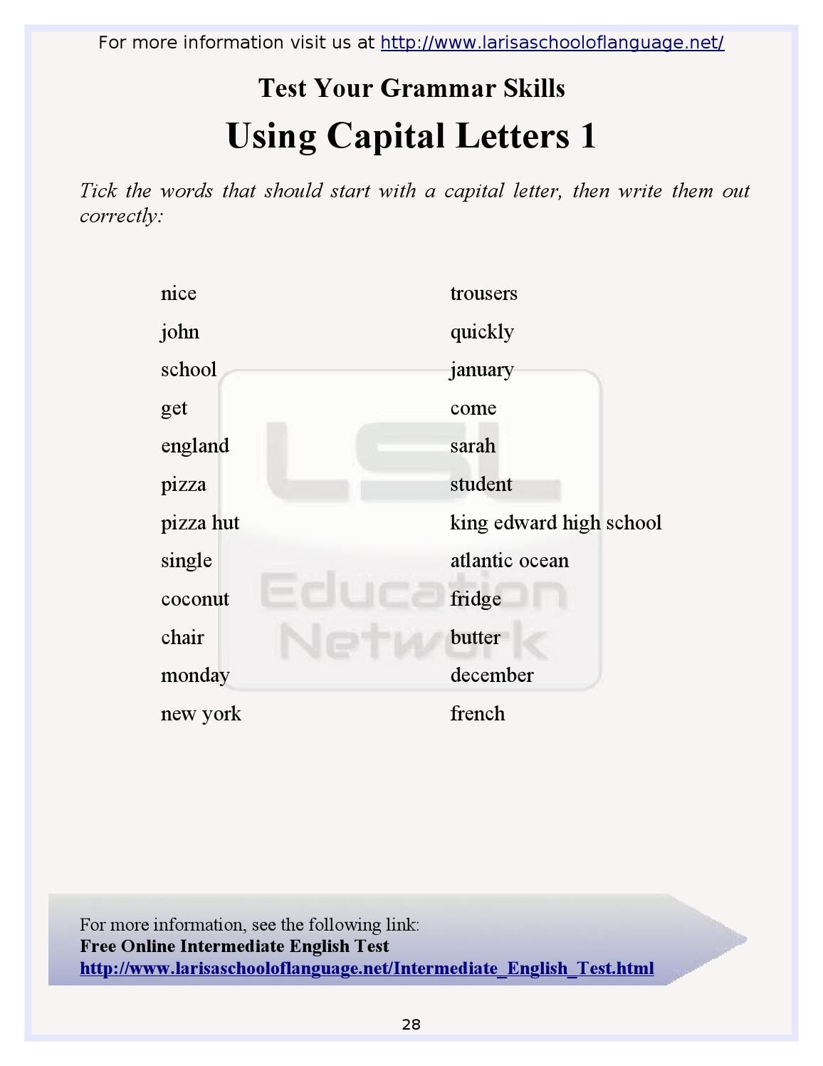 101 English Grammar Worksheets For English Learners In