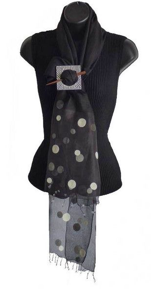 Blue Star Intl. Black Scarf with White Dots