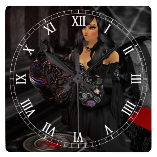 Gothic Black Heart Roman Numeral Clock  Halloween decoration for the home.  http://www.zazzle.com/gothic_black_heart_roman_numeral_clock-256236872296111062?rf=238271513374472230  #halloween  #halloweendecoration