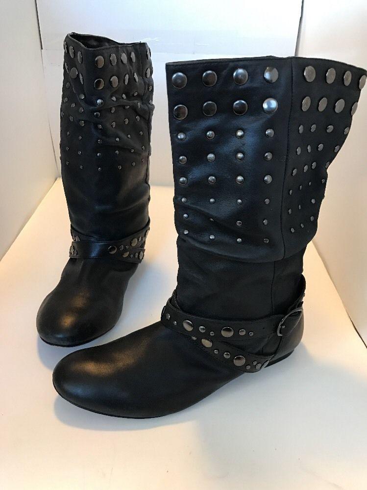Women's ALDO Black Boots Sz 37 6.5 Studded Leather Moto Mid Calf Biker Flat  Edgy