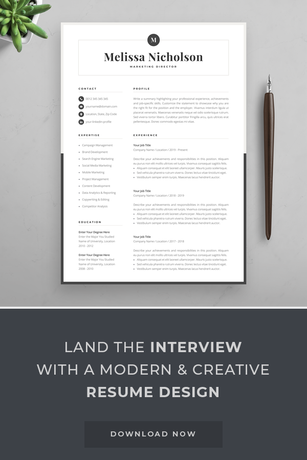Modern Resume Template Creative Cv For Word Elegant Design Etsy Resume Design Modern Resume Template Creative Resume Templates