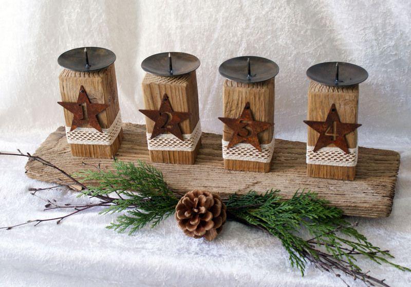 Kerzenhalter Advent Treibholz Mit Zahlen Von Geschenke Und