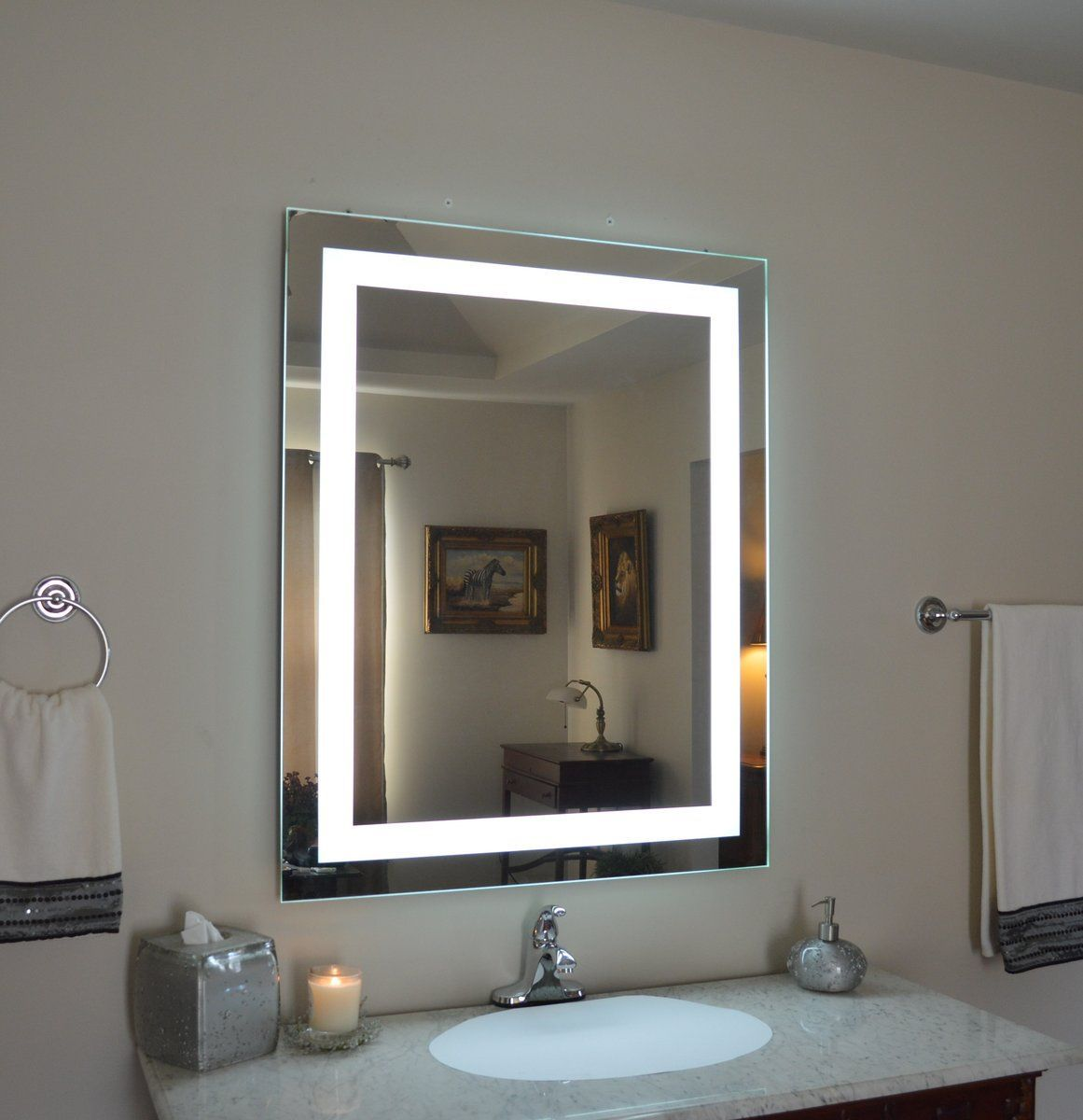 Mirrors And Marble Brand Commercial Grade Wall Mounted Rectangular Led Bathroom Vanity Makeu Lighted Wall Mirror Wall Mounted Makeup Mirror Vanity Wall Mirror