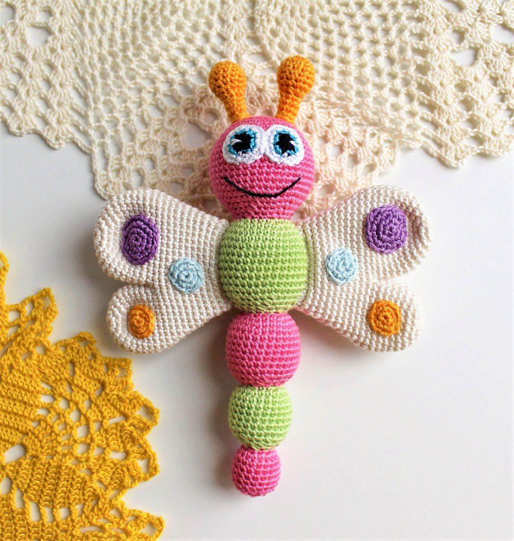 Butterfly Rattle Crochet Pattern | ToYs | Pinterest | Butterfly ...