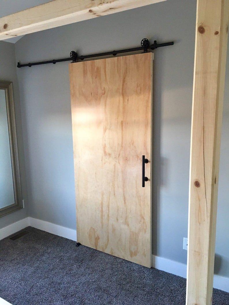 Modern Plywood Sliding Barn Door Etsy In 2020 Wooden Sliding Doors Diy Sliding Door Barn Door