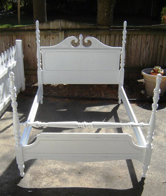 Vintage Full Size Four Poster Bed White By Seasidefurniture 295 00