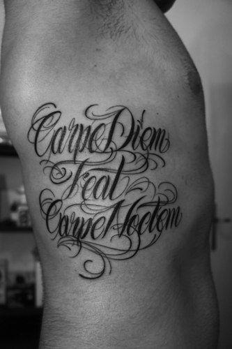 classical carpe diem 333 500 tattoo ideas. Black Bedroom Furniture Sets. Home Design Ideas