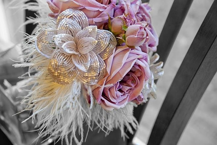 sweetheart pink rose bridal bouquet - French beaded flower bouquet ...