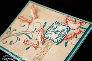 Label Love Butterfly Wedding Card by UK based Stampin' Up! Demonstrator Bekka Prideaux - check out her blog for lots of great ideas, hints and tips - many involving these stamps!