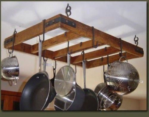 PRIMITIVE HAND CRAFTED WOOD HANGING POT RACK