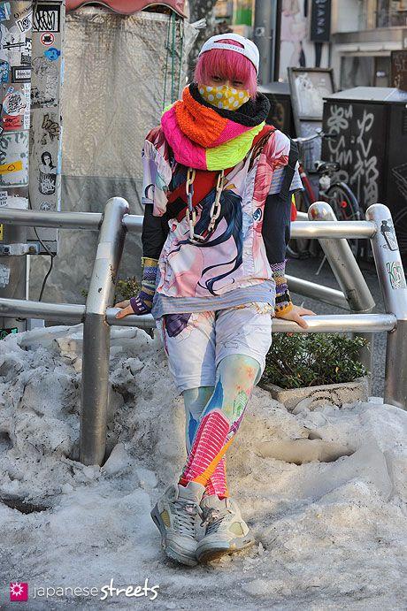 [Kinoko Pink in Harajuku Winter] Model: Kei, Cap: Chicago Bulls, Shirt: Veveroparuuu, Shorts: (Self), Sneakers: Nike #japanesestreets