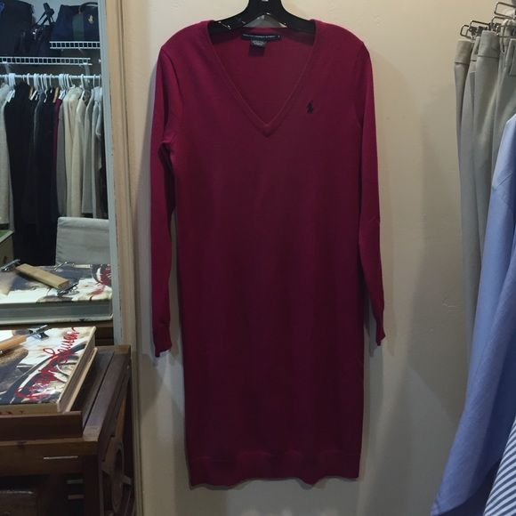 Ralph Lauren sweater dress Ralph Lauren sweater dress worn once excellent condition. Deep pink Ralph Lauren Dresses Midi