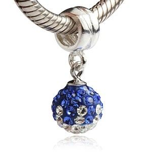 Blue and Clear CZ September Birthstone Dangle 925 Sterling Silver Core Bead
