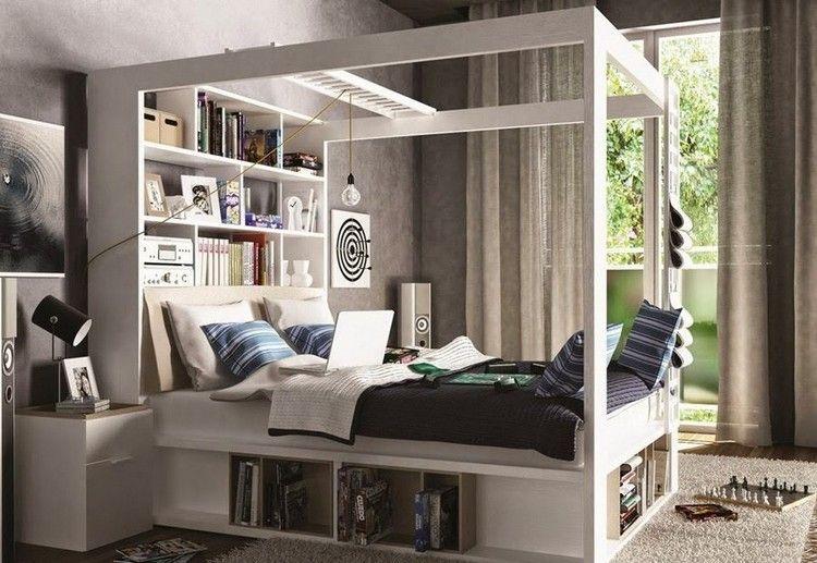 Kleines Kinderzimmer Einrichten-Ideen-Jugendzimmer-Himmelbett