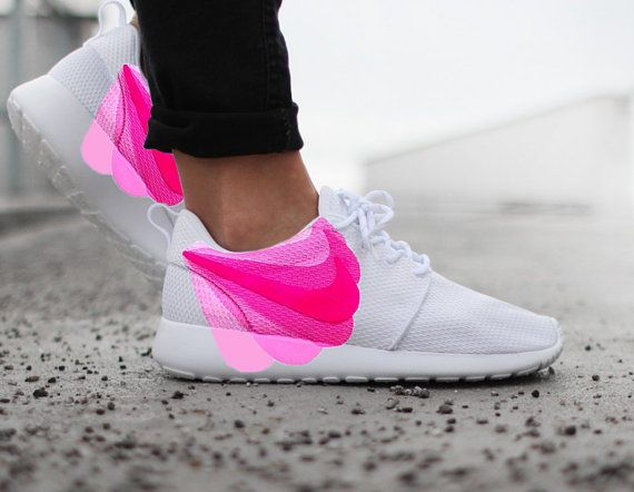 16fd23ee5734 Nike Roshe Run White with Custom Pink FADE Swoosh Paint