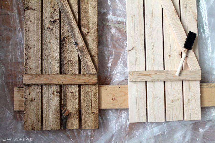 Diy Barn Wood Shutters Pine Boards Minwax And Dark Walnut