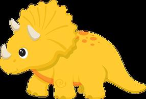 Triceratopo Laranja E Muito Fofinho Arte Com Tema De Dinossauro