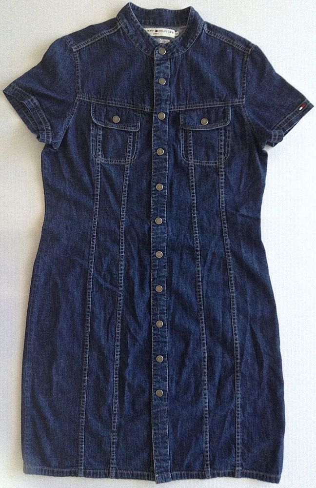 Tommy Hilfiger Denim Shirt Dress Womens Size 14 Blue Jeans 100% Cotton  #TommyHilfiger #ShirtDress