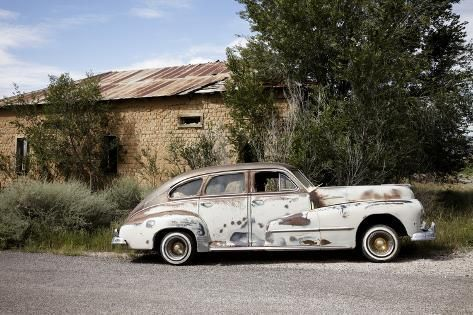 Old worn classic car parked on the side of the road, New Mexico, Route 66 Premium Photographic Print by Julien McRoberts | Art.com