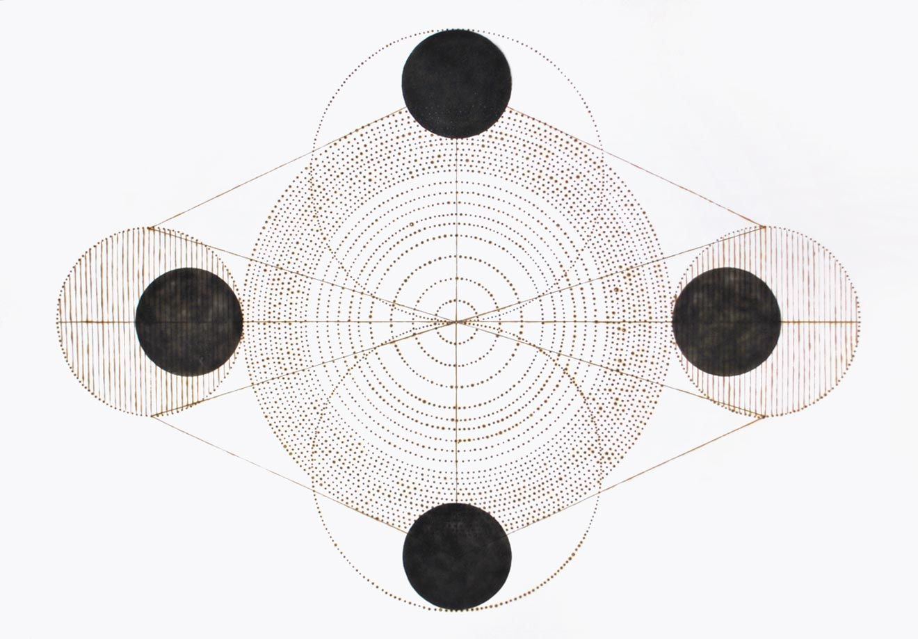 """""""Four Points"""" by Katrine Hildebrandt-Hussey. Smoke and burnt points on paper."""