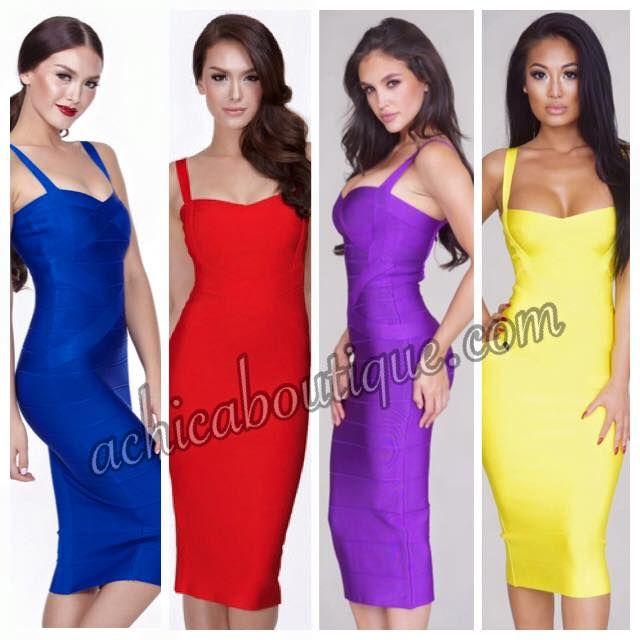Elegant figure hugging Midi Bandage Dresses in 8 colours