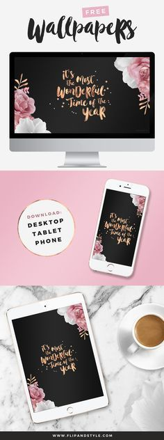 FREE Rose Gold Festive Wallpapers