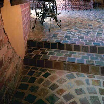Slate Tile Floor Laid In A Fan Pattern Beautiful Flooring Slate Patio Flooring
