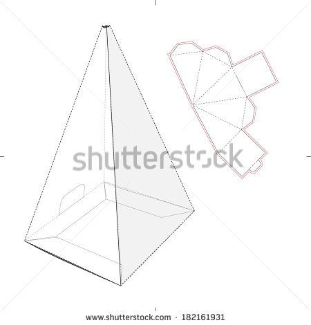 Pyramid Box With Die-Cut Pattern - Stock Vector | Paper Box End