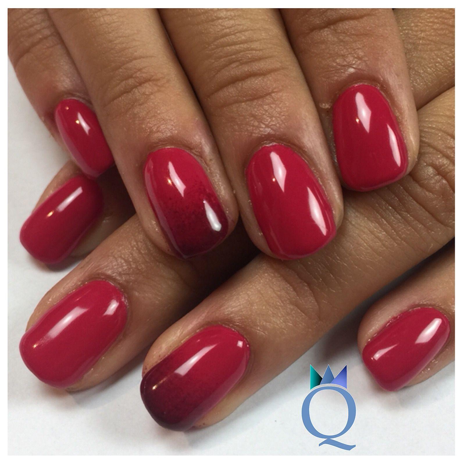 Shortnails Gelnails Nails Red Darkred Ombre Kurzenagel