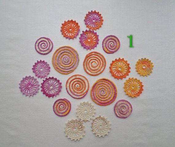 Round crochet motifs, orange beige purple freeform applique Irish crochet card making decor Scrapbook motifs #irishcrochetmotifs