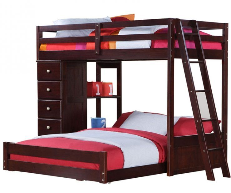 modern full over queen bunk bed with drawer storage and staircase ...