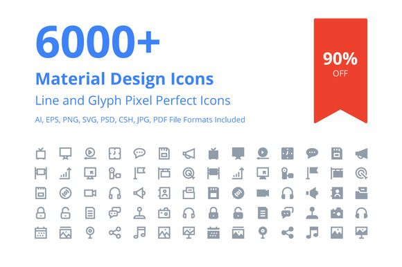 6000 Material Design Icons By Creative Stall On Creativemarket
