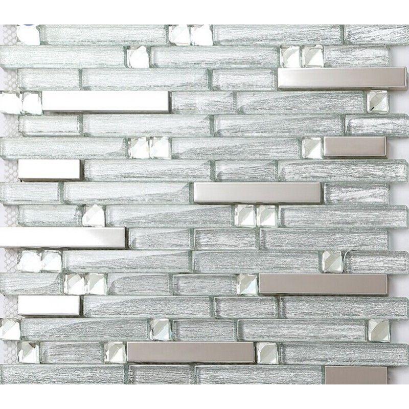Silver Stainless Steel Tiles Laminated Crystal Glass Mosaic Diamond Tile Strip Metal Backsplash Wall Decor Mgt903