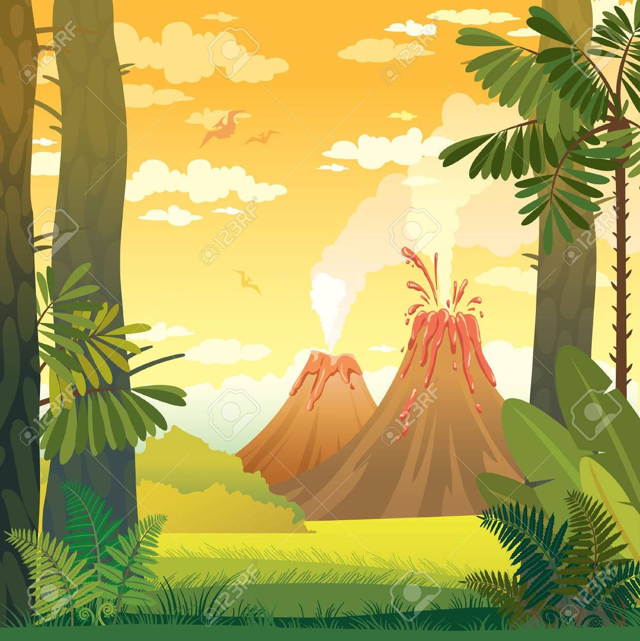 Natural Prehistoric Vector Illustration Wild Landscape With