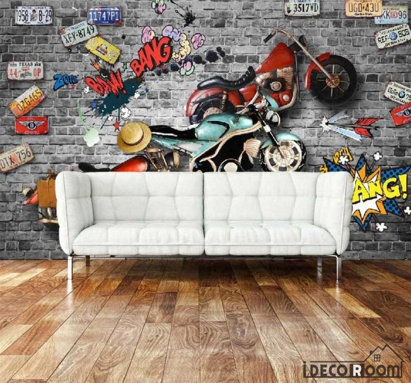Broken Brick Wall 3D Black Motorbike Restaurant Art Wall Murals Wallpaper Decals