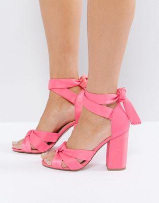 e34a8b3866e New Look Satin Wrap Around Block Heeled Sandals